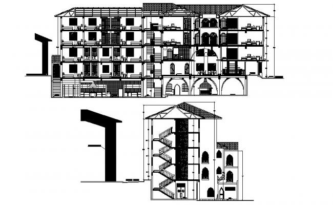 Residential Building Plan And Elevation In DWG File