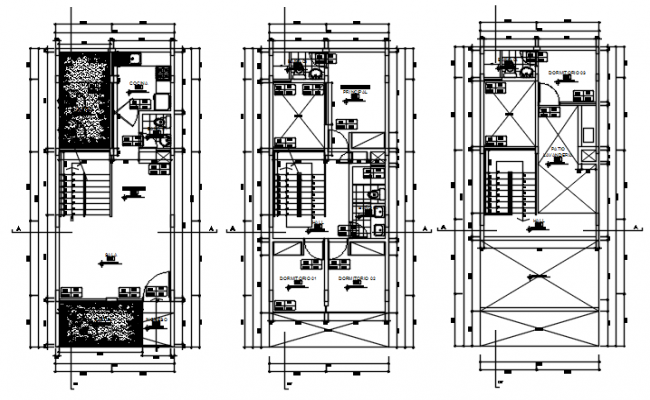 Autocad Drawing of house 5.00mtr  x 13.00mtr with detail dimension