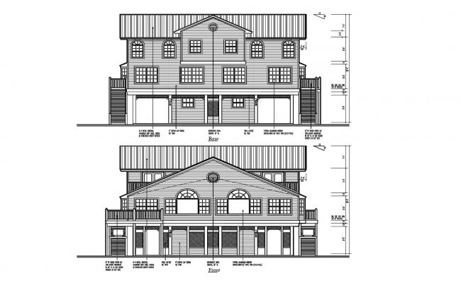 Autocad Drawing of the bungalow with different elevation