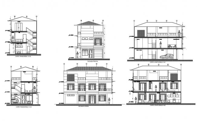 Autocad Drawing of the bungalow with elevation and section