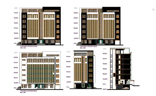 Autocad Drawing of the multistorey hotel building with different elevation