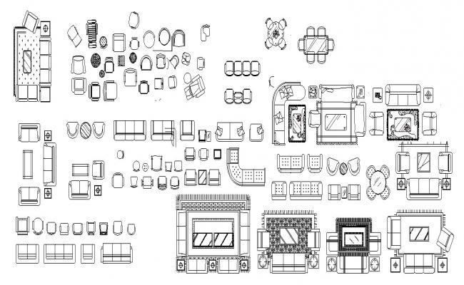 Autocad block of multiple furnitures