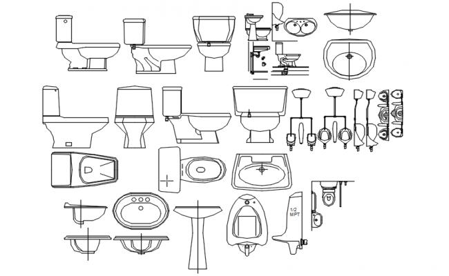 Autocad blocks of bathroom accessories