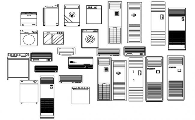 Autocad blocks of refrigerator
