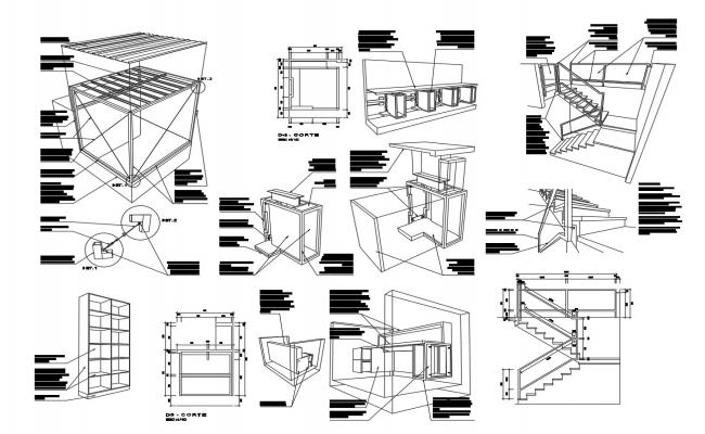 Autocad drawing furniture detail of institute