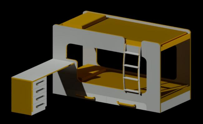 Two storey bed in AutoCAD file