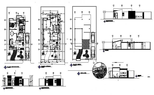 Autocad drawing of a house with detail dimension in dwg file