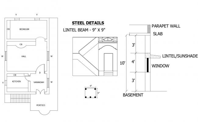 Autocad drawing of a single family house with steel detail