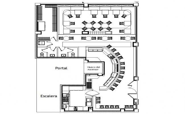 Autocad drawing of bar restaurant