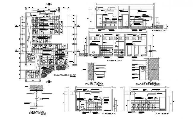 Autocad drawing of bathroom detail with sections