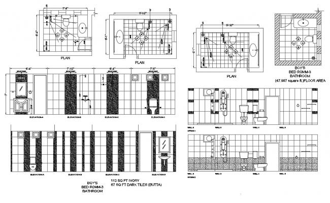 Autocad drawing of bathroom with sections