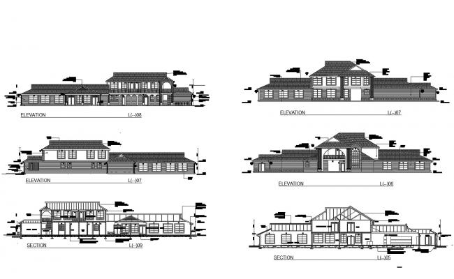 Autocad drawing of building with section and elevation