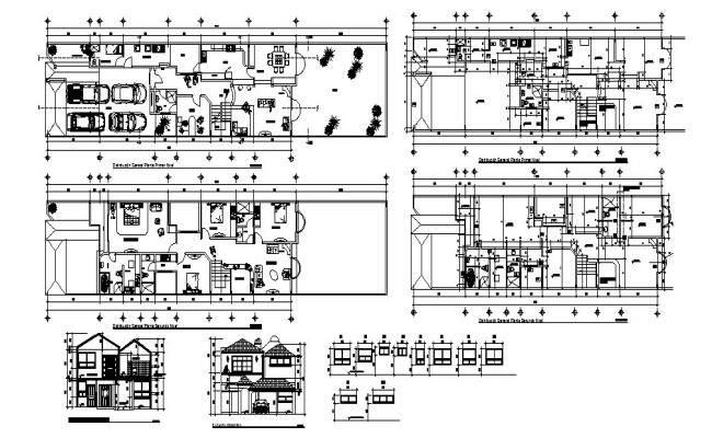 Autocad drawing of bungalow 39.85mtr x 8.75mtr with different section view
