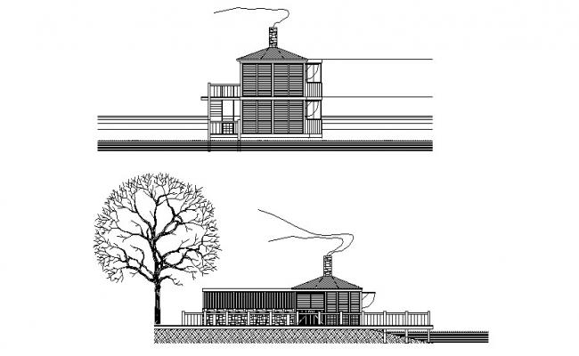 Autocad drawing of bungalow elevations