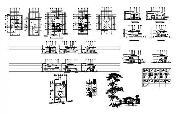 Autocad drawing of bungalows with detail dimension
