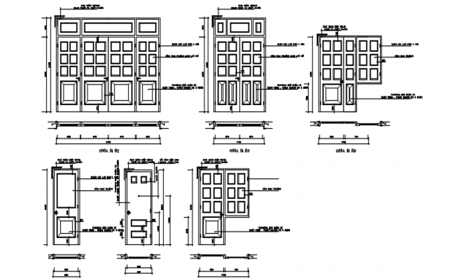 Autocad drawing of double doors
