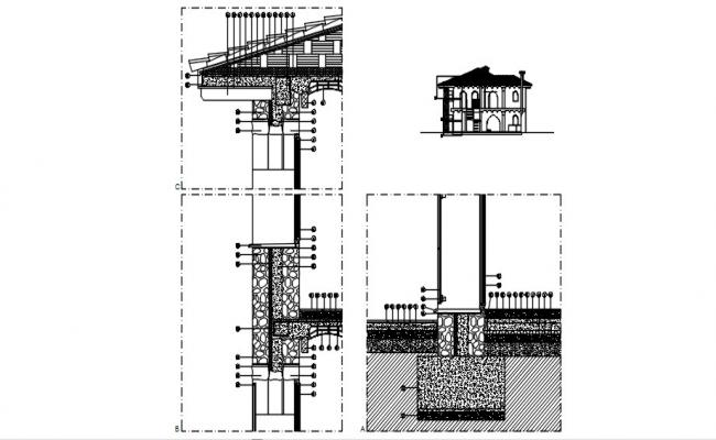 Autocad drawing of foundation structure design
