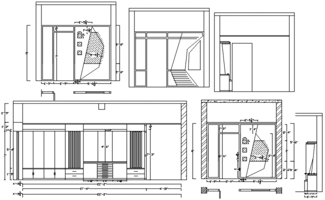 Autocad drawing of furniture with detail dimension