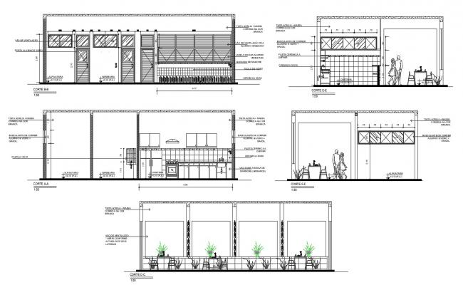 Autocad drawing of gym elevations