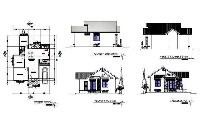 Autocad drawing of house 10.00mtr x 11.50mtr with different elevation