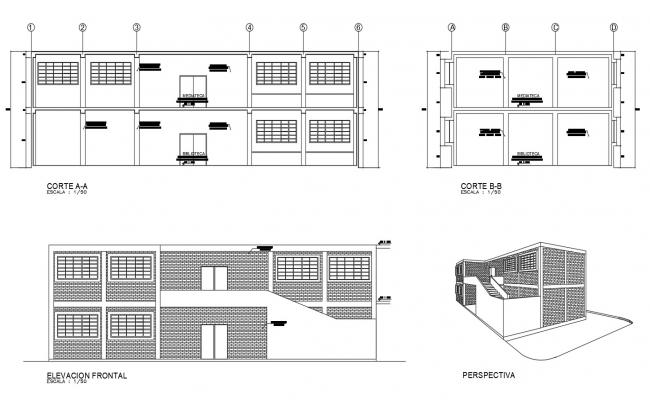 Autocad drawing of institute elevations