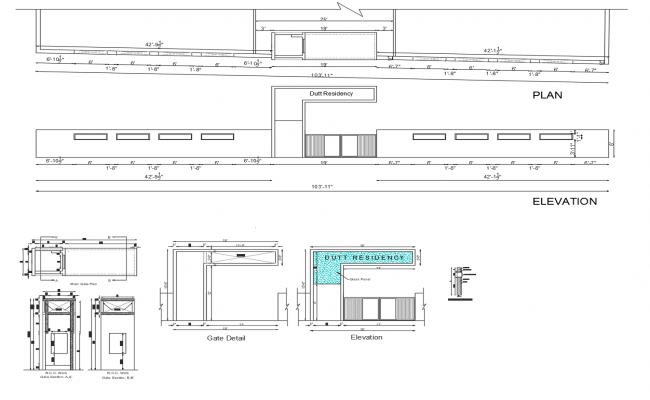 Autocad drawing of main gate detail