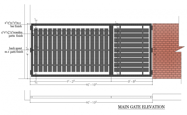Autocad drawing of main gate elevation with dimensions