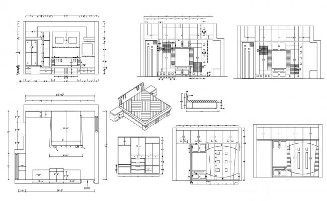 Autocad drawing of master bedroom