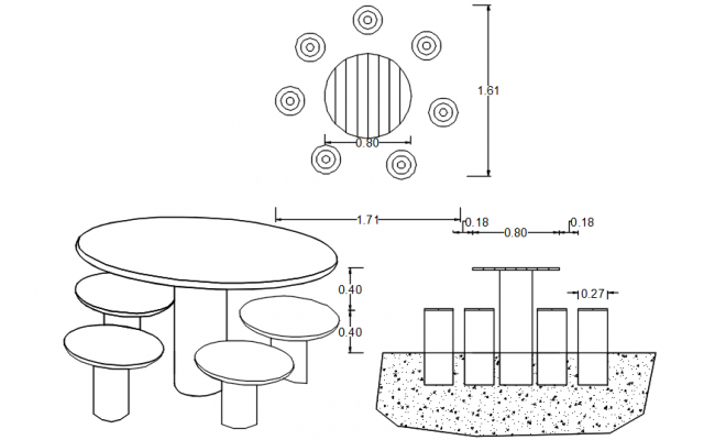 Autocad drawing of picnic tables