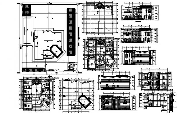 Autocad drawing of residence house with detail dimension