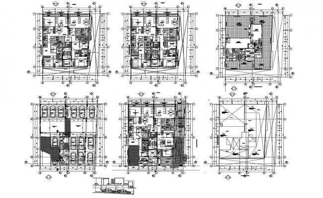 Autocad drawing of residential apartment 17.30mtr x 21.10mtr with furniture details