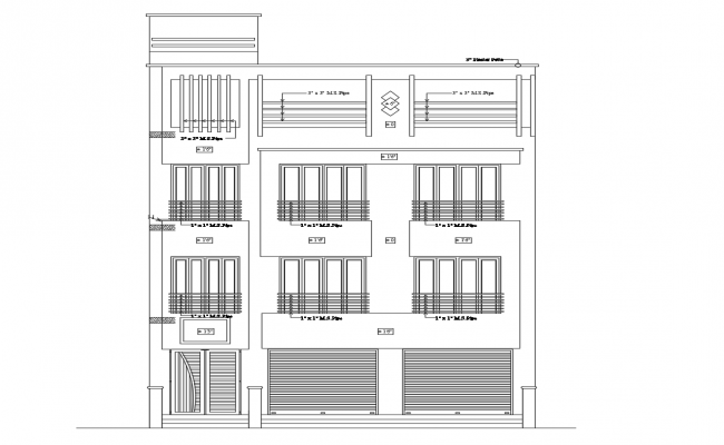 Autocad drawing of residential apartment elevations