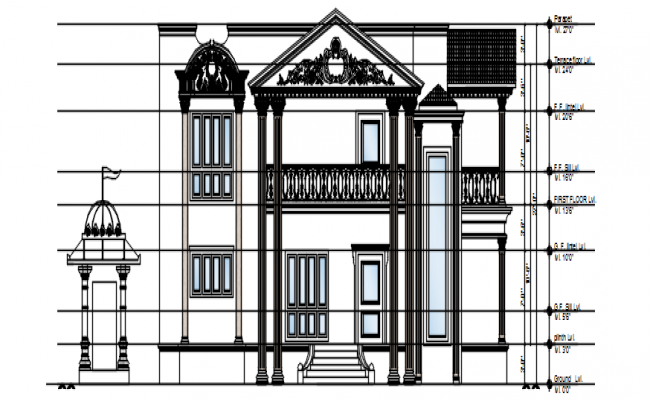 Autocad drawing of residential bungalow elevation