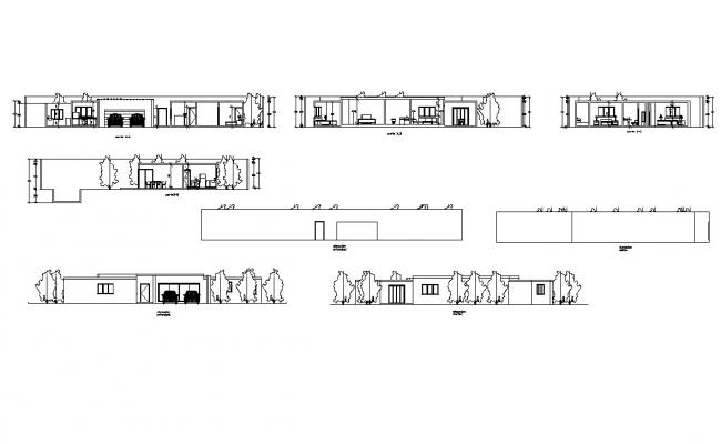 Autocad drawing of residential bungalow elevations