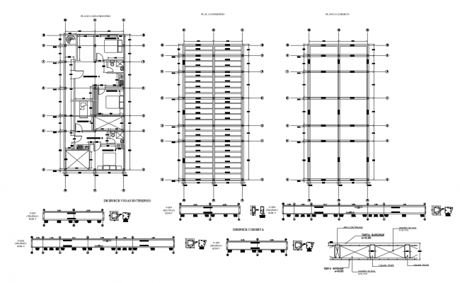 Autocad drawing of residential bungalow with construction details