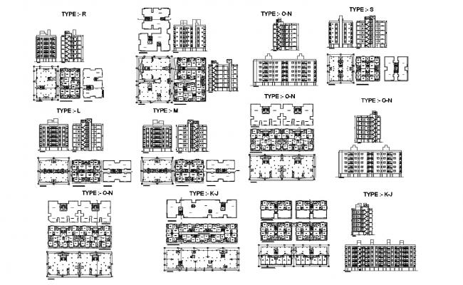 Autocad drawing of residential flats 19.93mtr x 16.39mtr with elevation
