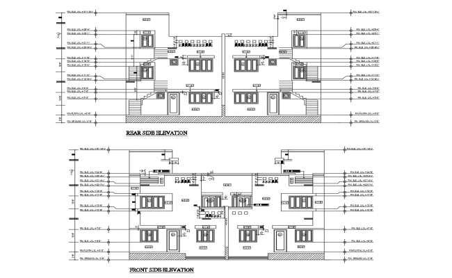 Autocad drawing of residential house elevation