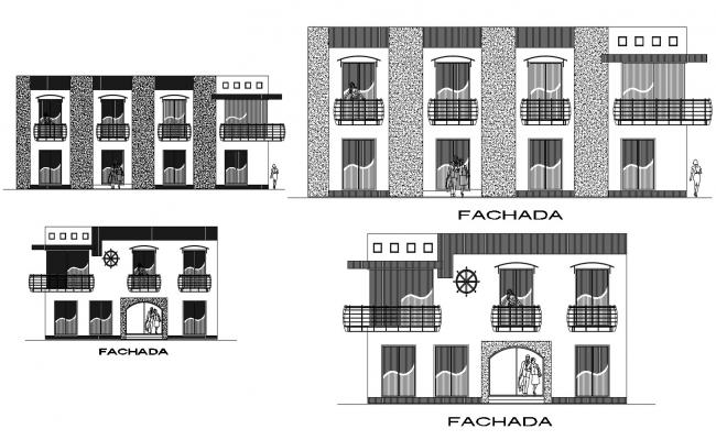 Autocad drawing of restaurant elevations