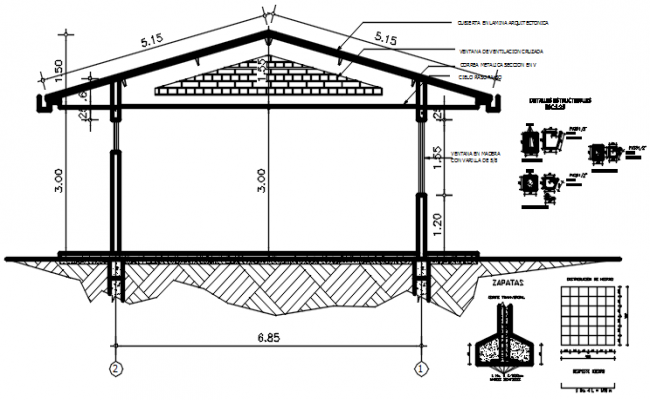 Autocad drawing of school section