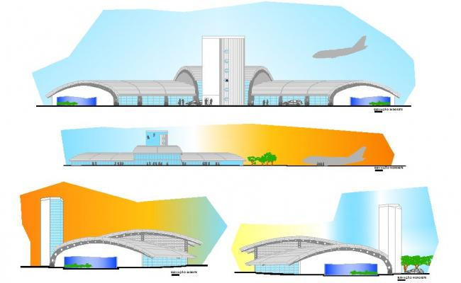 Autocad drawing of sectional elevation of airport
