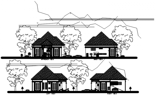 Autocad drawing of sectional elevations of bungalow