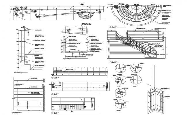 Autocad drawing of semi circular staircase