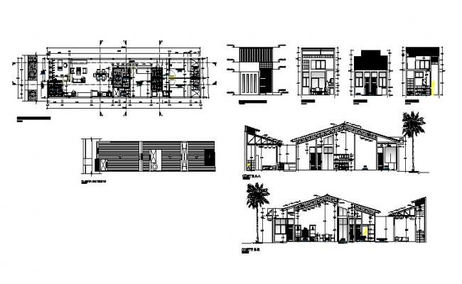Autocad drawing of single-family house 22.45mtr x 5.10mtr with different elevation and section