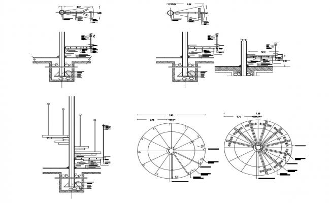 Autocad drawing of spiral staircase