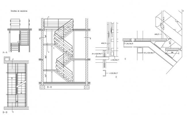 Autocad drawing of staircase detail