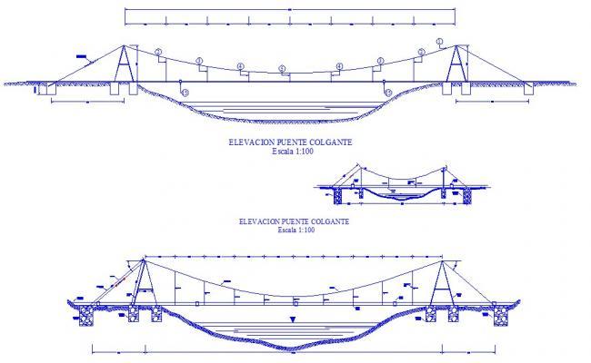 Autocad drawing of suspension bridge