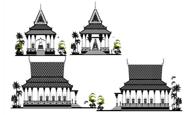 Autocad drawing of temple elevation