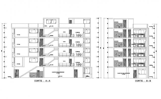 Autocad drawing of the apartment with detail dimension in dwg file