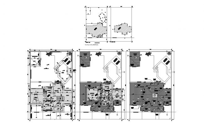 Autocad drawing of the bungalow with detail dimension