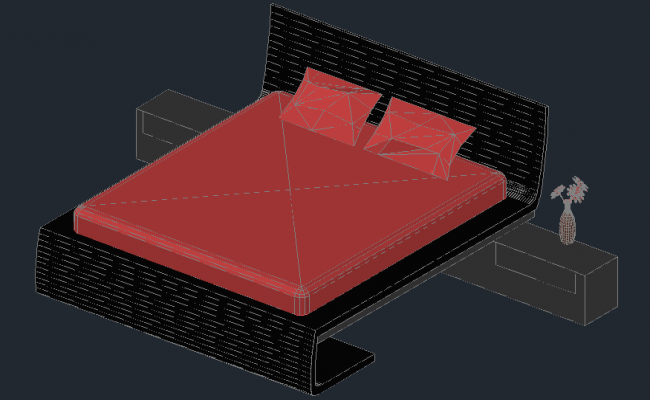 Autocad drawing of the double bed in 3D